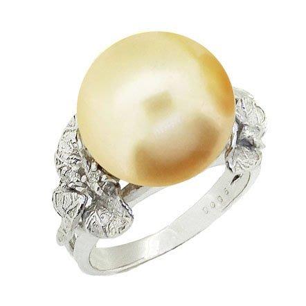 【JHT金宏總珠寶/GIA鑽石專賣】12.6mm天然黃金珠鑽戒/材質:18K(JB41-A28)