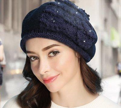 SR 優雅氣質保暖羊駝毛手工釘珠貝蕾帽 帽子 八角帽 毛帽 毛呢帽 3色