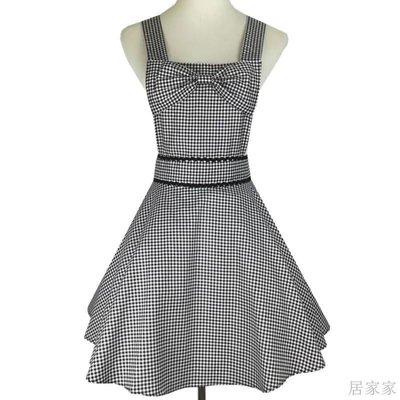 居家家 圍裙新款時尚性感可愛純棉黑白格子布大擺蝴蝶結工作圍裙訂製