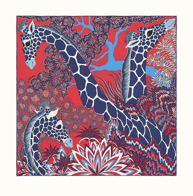 [現貨/預購]Hermes Three Graces scarf 90愛馬仕美惠三女神福祿壽開運招財 長頸鹿絲巾 藍紅