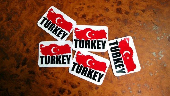 【國旗貼紙專賣店】土耳其國旗地圖抗UV、防水登機箱貼紙/Turkey/世界多國款可收集和訂製