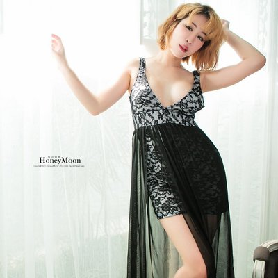 【NI-79】多層次蕾絲深V長裙☆HoneyMoon蜜月假期