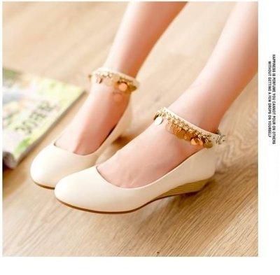 ~☆風尚主人☆~ 【YY666】新款韓版婚鞋伴娘鞋中低跟米白色流蘇吊飾坡跟新娘鞋