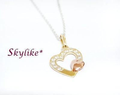 *SKYLIKE* 最可愛-韓國進口墜585/14k黃K金、玫瑰金亮面華麗風心型鋯石墬子,PJ-60956