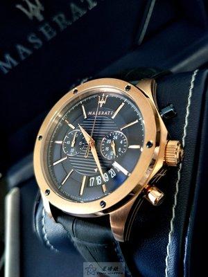 請支持正貨,瑪莎拉蒂手錶MASERATI手錶CIRCUITO款,編號:R8871627002,寶藍色錶面藍色皮革錶帶款