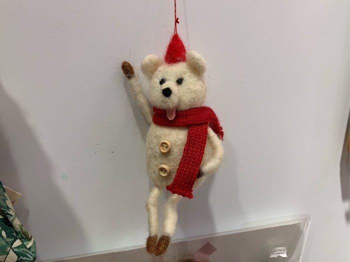 *黑頭小羊雜貨小舖*日本帶回zakka~鄉村風格/耶誕裝飾/手作羊毛氈耶誕熊熊掛飾/裝飾擺飾/耶誕手工吊飾