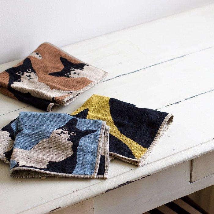 日本製~ATSUKO MATANO 保野溫子 我的貓咪 今治產 三重紗 條紋款 方巾 毛巾 34X34CM(現貨)