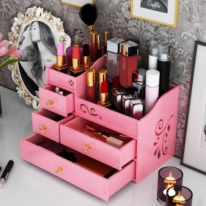 化妝品收納盒置物架梳妝臺護膚品收納柜桌面抽屜式大號木制歐式盒