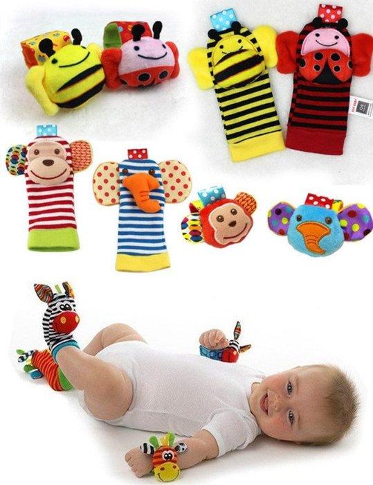 2入/組 初生寶寶最愛的玩具 原單美國斑馬手搖鈴 手腕鈴 腳套 襪套 響紙