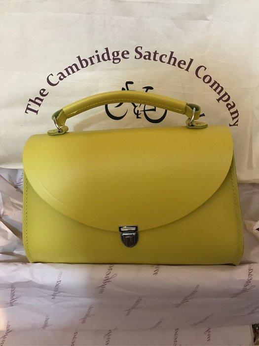 cambridge satchel 劍橋波士頓包 陽光黃色 牛皮英國製 帶可拆