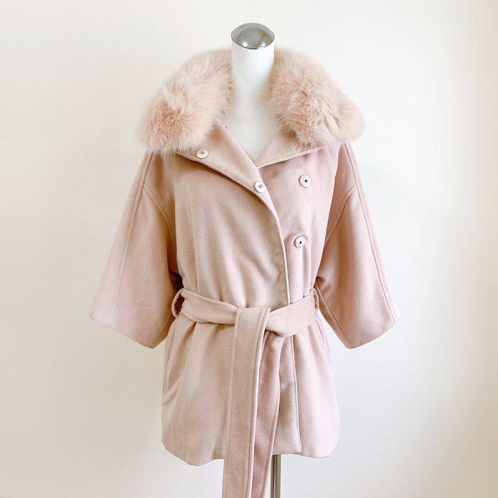 SZ 正韓 溫柔粉色保暖皮草外套 可愛七分袖 腰帶 披風 (301)