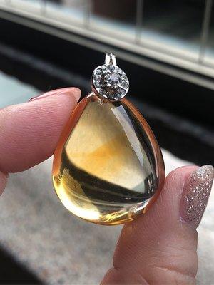 Crystal~ Y11 天然 黃水晶 銀墜 . 只給第一標~