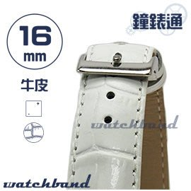 【鐘錶通】C1.20I《亮彩系列》鱷魚格紋-16mm 簡約白┝手錶錶帶/皮帶/牛皮錶帶┥