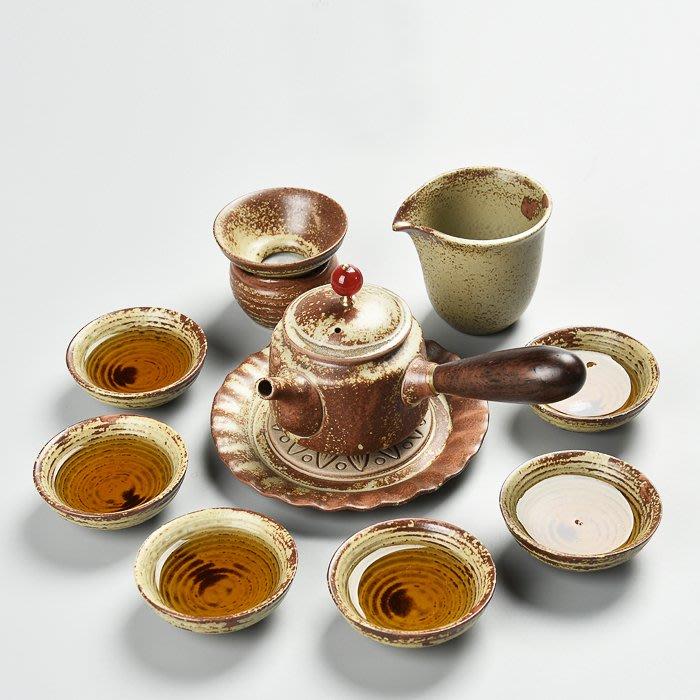 5Cgo【茗道】複古仿柴燒茶具套裝側把接木壺黑檀木陶瓷功夫茶具茶壺茶杯仿古中國風經典茶具11件套539398964137