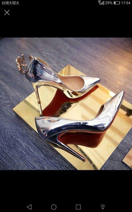 超細跟 高跟 尖頭性感 小碼 大碼 2017明星同款鞋銀色尖頭高跟鞋 金色女鞋33碼大碼40 41 42 43