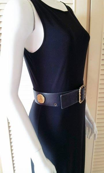 【Ralph Lauren 】深黑色簡約風削肩無袖修身長洋裝(不含CHANEL香奈兒腰帶)