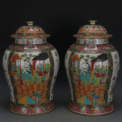 ㊣姥姥的寶藏㊣ 清晚期廣彩描金人物花鳥將軍罐一對全手工精品  古瓷古玩古董收藏