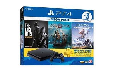 PS4 slim 1TB主機 MEGA PACK同梱組 攜碼 遠傳月租999 4G吃到飽 免預繳 門號價1元 公司貨