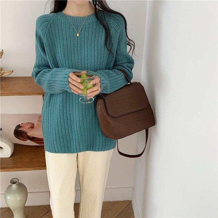 Maisobo 韓 秋冬 簡單素色坑條中長款長袖針織毛衣 3色 TO2-941 預購