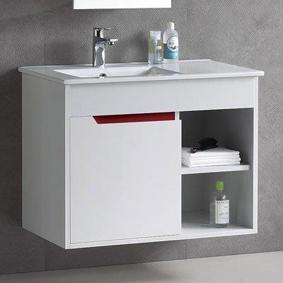 《101衛浴精品》80CM 方型陶瓷抗污面盆浴櫃 全防水發泡板 5層環保亮面鋼琴烤漆【全台大都會免運費 可貨到付款】