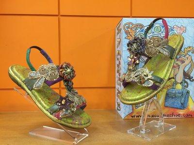 【阿典鞋店】** Macanna** 麥坎納專櫃~萊因河系列 ~五月夜~蕾絲小鑽~全新牛皮+羊皮氣墊鞋09621D