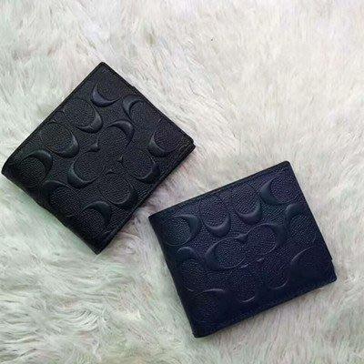 【八妹精品】COACH 74929男士皮夾 折疊短夾 鈔票夾 卡夾 錢包