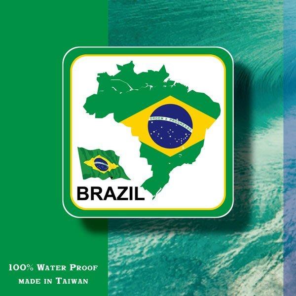【國旗貼紙專賣店】巴西國旗領土防水、抗UV行李箱貼紙/各尺寸、多國都有客製/Brazil