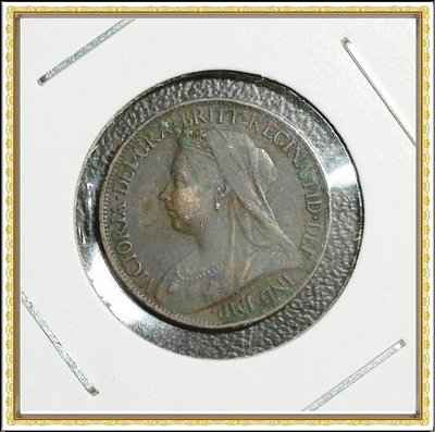 【牟根錢幣-160206】1900年 英國 FARTHING 銅幣