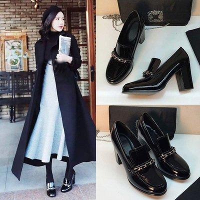 【MISS.LENG】2016新款鏈條高跟鞋粗跟單鞋女夏黑色英倫漆皮鞋深口方頭女鞋(黑色)34-39碼