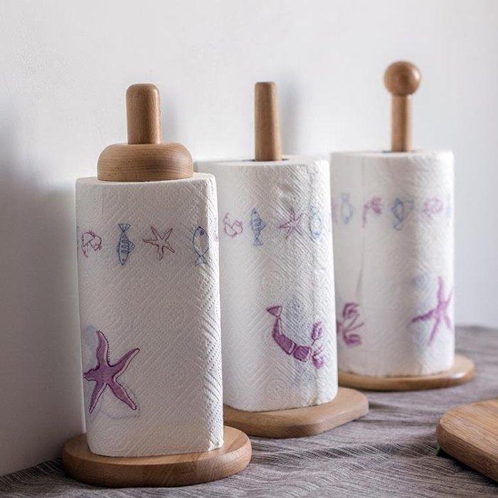 廚房卷紙架原木紙巾架歐式家用卷筒紙座卷紙收納架衛生紙柱紙巾筒 免運費