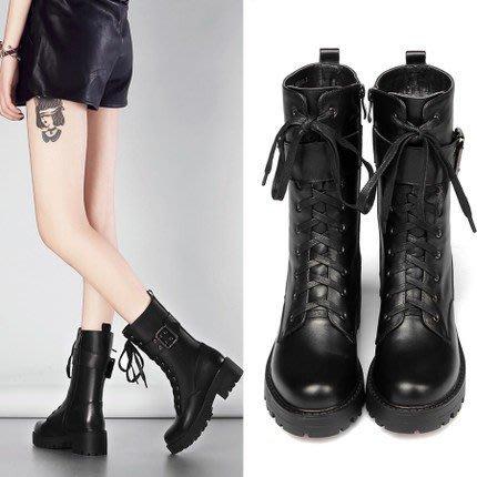 馬丁靴女英倫風中筒機車靴女加絨短靴女春秋單靴真皮朋克靴子棉靴