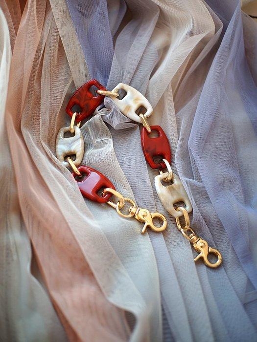 淘淘樂-【一人故事】復古浪漫情懷包包肩帶拼色樹脂金屬鋁鏈包配件包帶