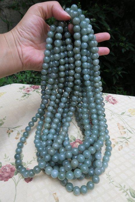 518中國結綁繩.扣頭專賣--油青色圓珠翡翠A貨項鏈 (10mm)--S21  尾端加一截線繩可作玉墜掛件綁繩