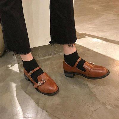 娃娃鞋 日系復古女粗跟單鞋學生原宿圓頭娃娃鞋學院風英倫軟妹方跟小皮鞋