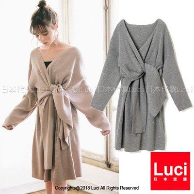 毛衣洋裝 V領交叉綁帶扭結針織洋裝   知性氣質 韓風 日雜款 LUCI日本代購 [mb801asd]