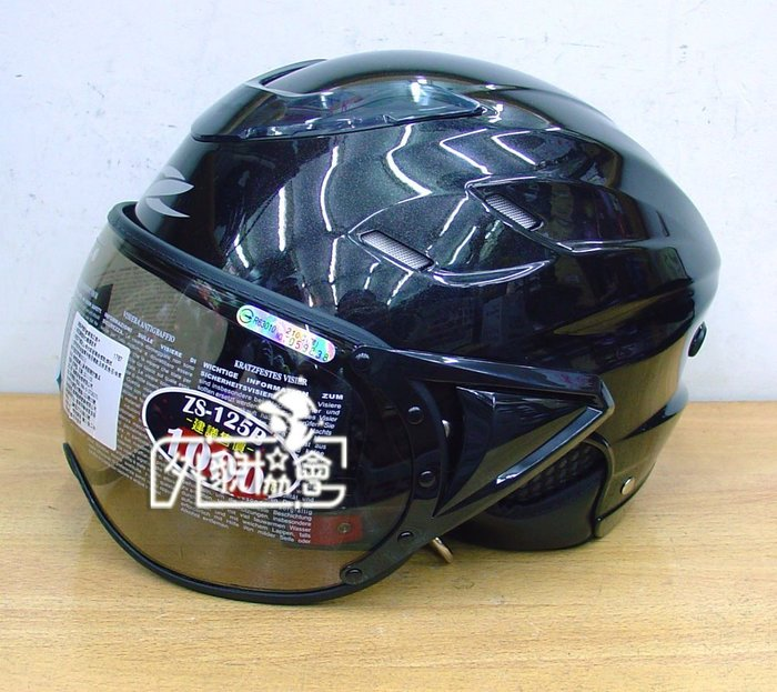 ((( 外貌協會 ))) 瑞獅半罩安全帽 125B 復古 飛行帽 / 內襯全可拆洗 ( 亮黑 )