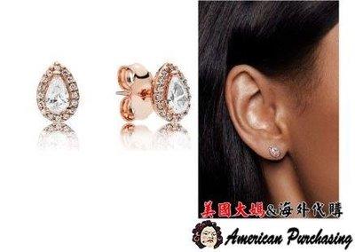 美國大媽代購 PANDORA 玫瑰金鑲鑽梨形耳環 925純銀 CHARMS 美國代購