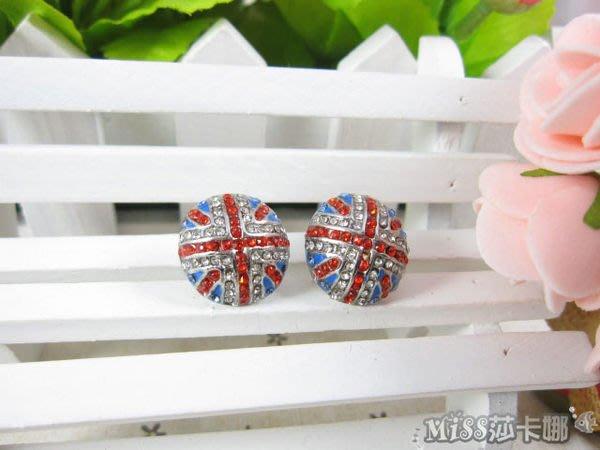 *Miss 莎卡娜* 日韓飾品 英國米字國旗 滿鑽 水鑽耳環 耳針 (現貨)