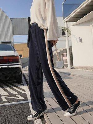 ZIHOPE 寬管褲女秋冬金絲絨高腰九分學生韓版寬鬆百搭顯瘦運動長直筒褲子ZI812