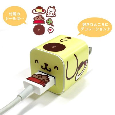 尼德斯Nydus 日本正版 三麗鷗 布丁狗 豆腐頭 DIY 貼紙 iPhone7 變壓器 轉接頭