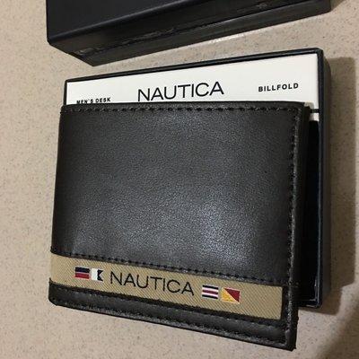 Nautica 全新 現貨 國旗logo 深咖啡色 皮夾 100%真皮 柔軟 堅固 附盒