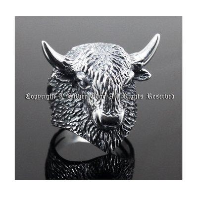 銀革手作 925 純銀 精緻 立體 氂牛 戒指