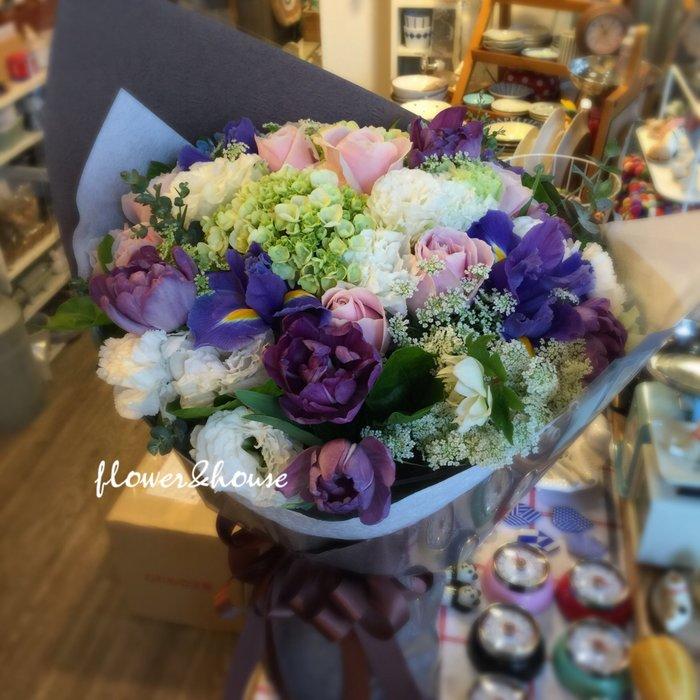 A90。期間限定。粉玫瑰鬱金香繡球花束。生日。求婚。紀念日。歡迎自取【Flower&House花藝之家】