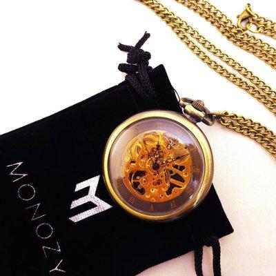 日本正版 MONOZY 復古 項鍊 機械式 懷錶 43211-1443 附專屬收納盒和收納袋 日本代購