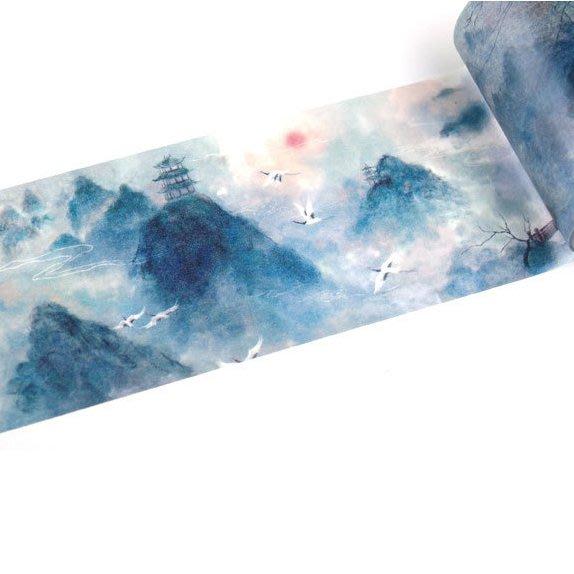 古風和紙膠帶 中國風彩色整卷日式富士山櫻小清新手帳裝飾DIY貼紙