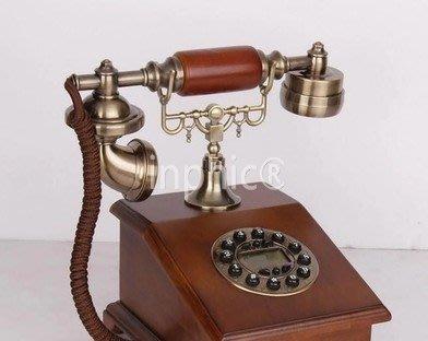 INPHIC-實木復古電話 仿舊電話機美式家居簡約座機 歐式裝飾電話