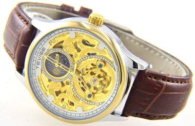 (六四三精品)TEVISE特威司金外框大錶徑4.0公分,雙面鏤空.白框金面.時.分.秒大三針及日月相功能自動上鍊機械錶