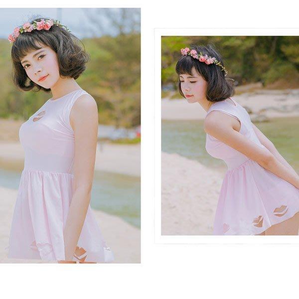5Cgo【鴿樓】會員有優惠 45652726317 原創日系 女90UP少女粉鋼托性感裙式三角比基尼三件套