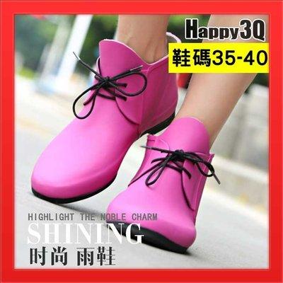 雨鞋雨靴柔軟可折雨鞋綁帶防水靴防水鞋綁帶低筒雨鞋短筒雨靴-桃/紫/棕35-40【AAA2917】