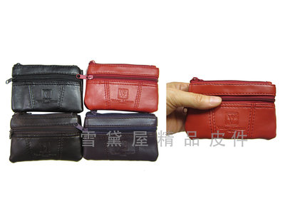 ~雪黛屋~Valour 零錢包中型容量三層主袋+外袋共四層進口防水防刮皮革材質零錢鑰匙包證件包男女適用V784A